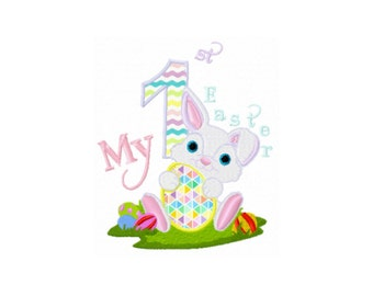 1st Easter Embroidery Design - Easter Applique Design - Babies 1st Easter Embroidery - Bunny Embroidery Design - Easter Design - 1st Bunny