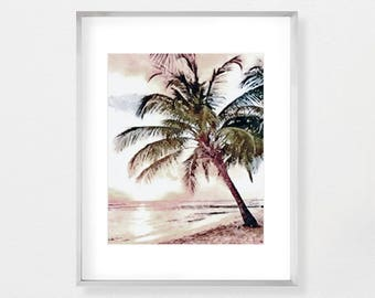 Palm Tree Print, Modern Beach, Beach Decor, Watercolor Print, Wall Art Print, Instant Download, Coastal Art, Tropical Decor, Beach Print