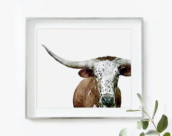 Cow Print, Cow Painting, Cow Art, Cow Watercolor, Nursery Wall Art, Cow Gift, Printable Art, Large Wall Art, Cow Poster, Watercolor Print