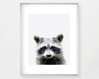 Raccoon Print, Nursery Decor, Nursery Wall Art, Digital Download, Large Poster, Nursery Printable, Woodland Nursery, Baby Animal Print