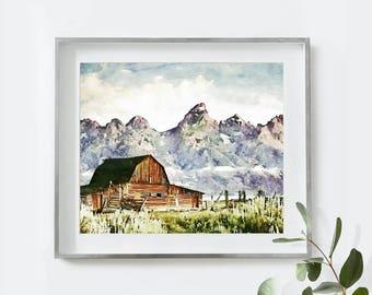 Mountain Print, Mountain Art, Landscape Prints, Printable Art, Instant Download, Mountain Poster, Watercolor Painting, Nature Print