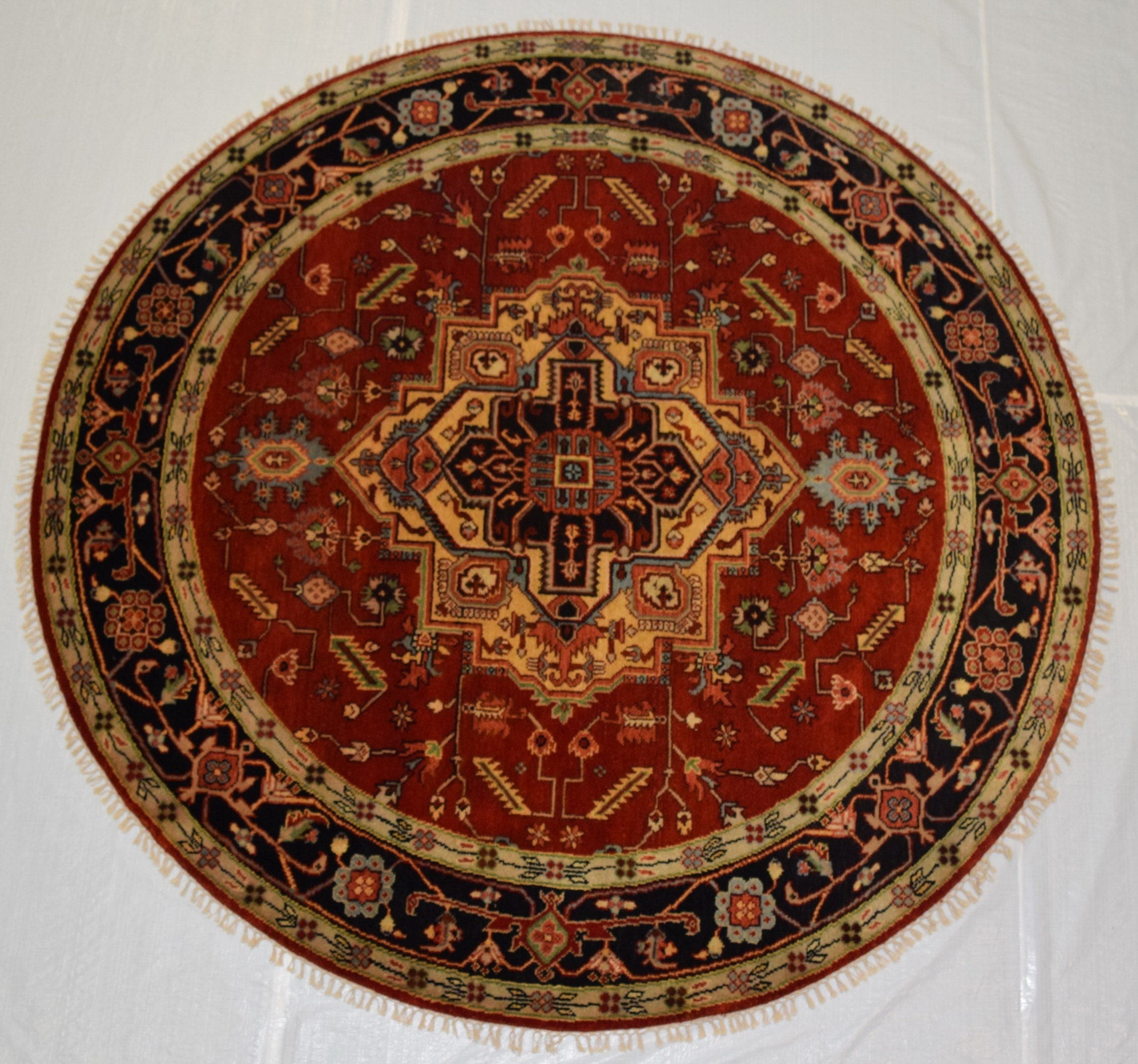Beautiful Hand Knotted 8x8 Turkish Round Rug Oval Rug