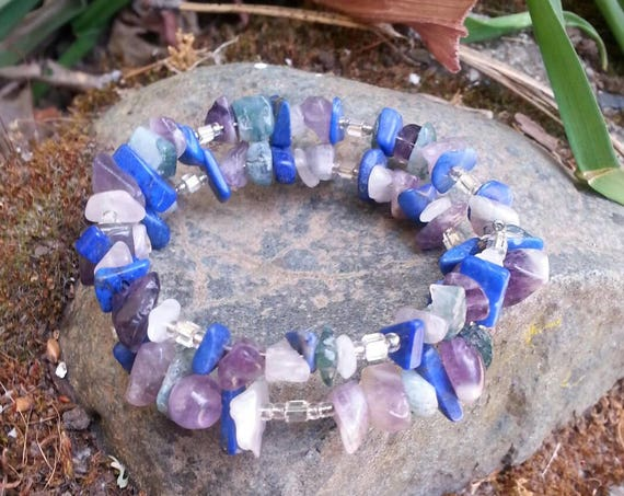 Gemstone Bracelet* Crystal Bracelet* Handmade Jewelry* Beads* Gift* Lapis Lazuli* Amethyst* Quartz* Crystal Jewelry* Crystals