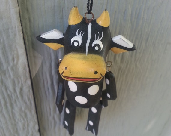 Cow Ornament/ Puppet/ Black Puppet/ Ornaments/ Wood/ Art/ Handmade/ Vintage/ Home Decor/ Unique Gift/ Holiday Gift/ Christmas Tree/ Fun
