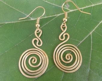 Brass Earring* Wire Wrap Jewelry* Spiral* Earrings* Unique Gift* Handmade* Gift