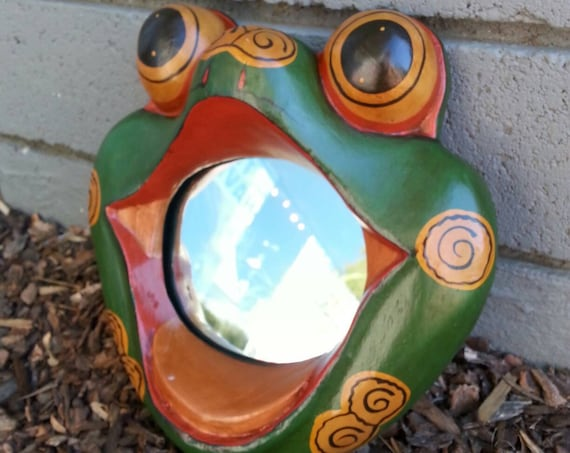 Frog Mirror/Mirror/ Wood Mirror/ Frog/ Reptile/ Handmade/ Green/ Home Decor/ Unique Gift/ Bathroom Decor/ Vintage