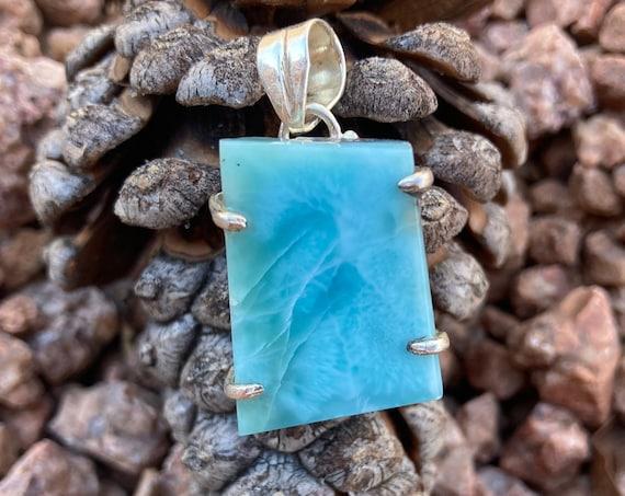 Beautiful Larimar Necklace, Larimar, Blue Larimar, Sterling Silver, Crystal Necklace, Vintage, Blue Crystal, Unique, Handmade, Rare Stone