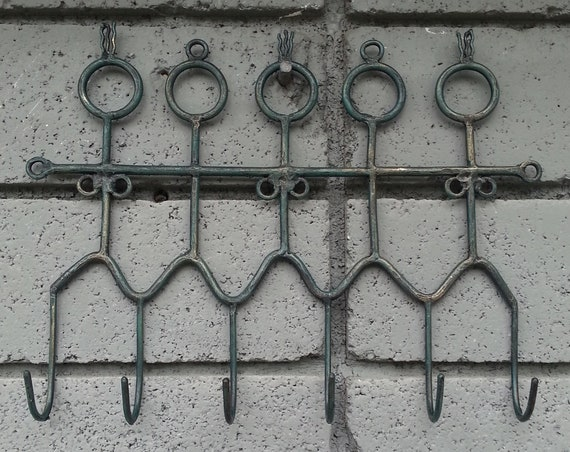 Hooks/ Coat Hanger/ People/ Metal Hanger/ Metal Hook/ Hook/ Home Decor/ Green/ Tribal/ Gift