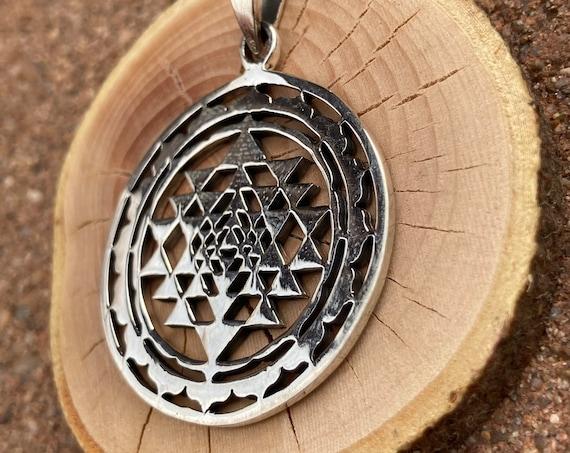Sri Yantra, Sterling Silver, Sacred Geometry Pendant, Necklace, Pendant, Craft Supplies, Meditation, Spirituality, Unqiue Gift, Fashion