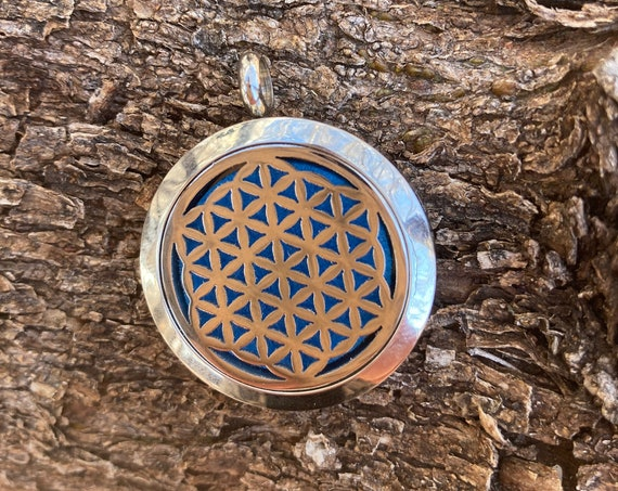 Essential Oil Necklace Flower of Life, Sacred Geometry, Oil Diffuser, Silver, Rainbow Colors, Fashion Jewelry, Metaphysical Jewelry, Flower