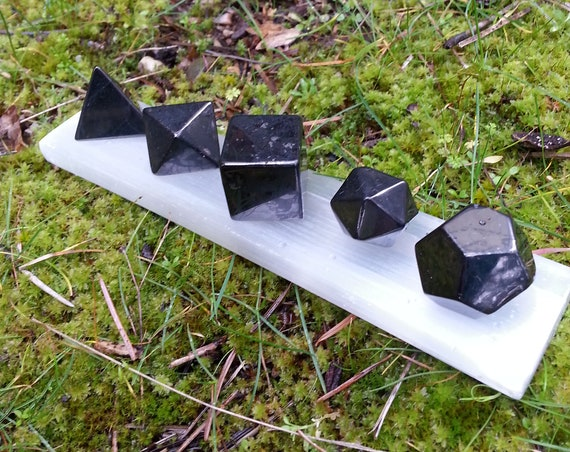 Shungite/ Platonic Solids/ Black Crystal/ Crystals/ Selenite/ Shapes/ Crystal Set/ Carved Stone/ Russian/ Shungite Stone/ EMF/ Orgone/ Black