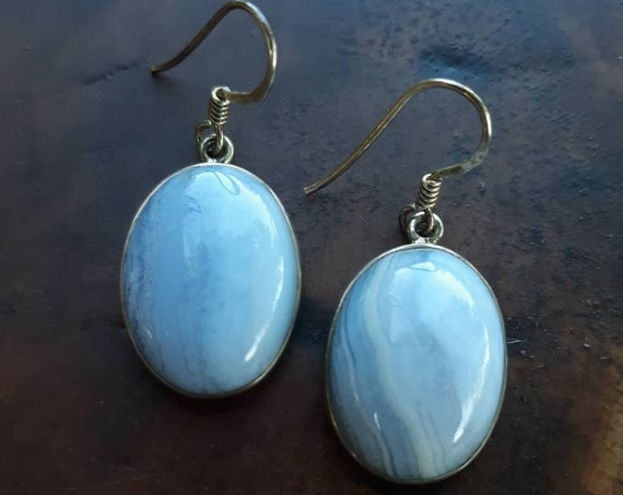 Blue Lace Agate/ Crystal Earrings/ Blue Crystal/ Sterling Silver/ Silver Earrings/ Dangle Earrings/ Jewelry/ Gift/ Unique Gift/ Vintage
