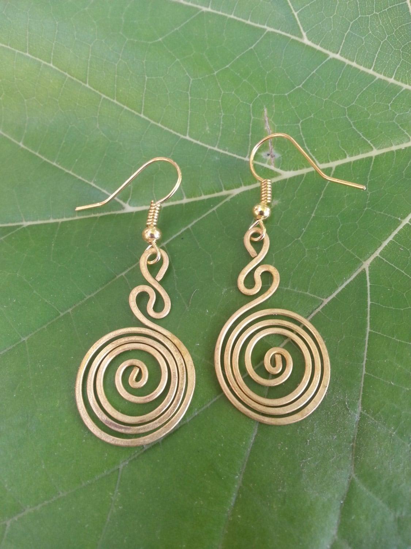 491c648ec26ac8 Brass Earring* Wire Wrap Jewelry* Spiral* Earrings* Unique Gift ...