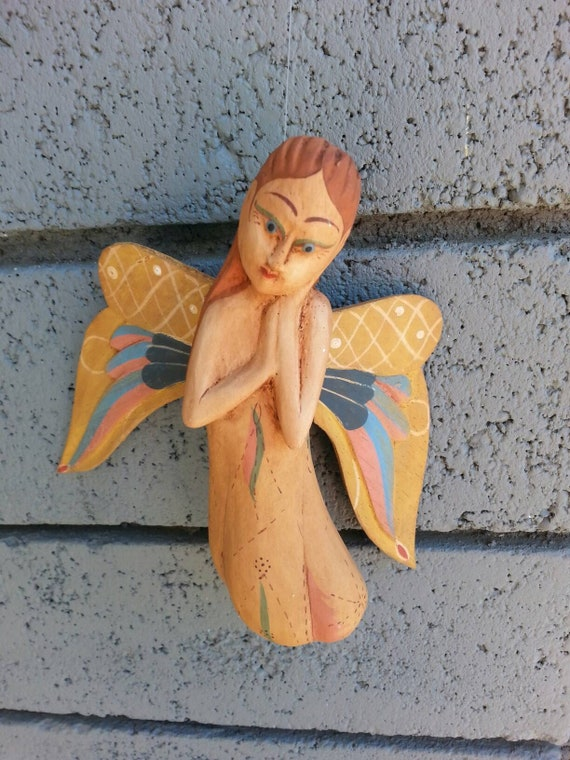 Ornament/ Christmas Tree/ Angel/ Wood Ornament/ Home Decor/ Tree Ornament/ Hand Painted/ Vintage/ Wings/ Wood/ Holiday/