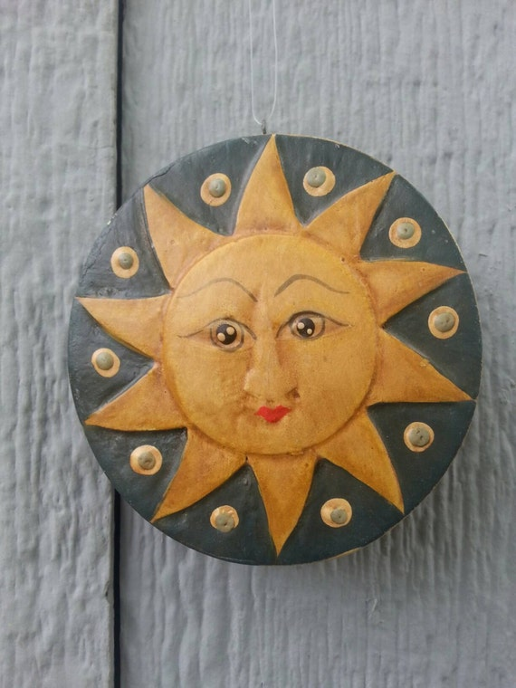 SUN ORNAMENT* Wood Ornament/ Sun* Moon* Hand Carved/ Handmade / Holiday/ Gift/ Unique Gift/ Vintage/ Astrology
