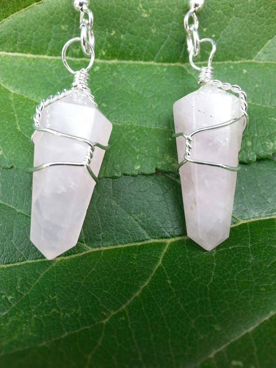 Rose Quartz/ Earrings/ Crystals/ Jewelry/ Crystal Point/ Dangle Earrings/ Handmade/ Wire Wrap/ Earrings/ Pink Crystal/ Gift/ Holiday Gift