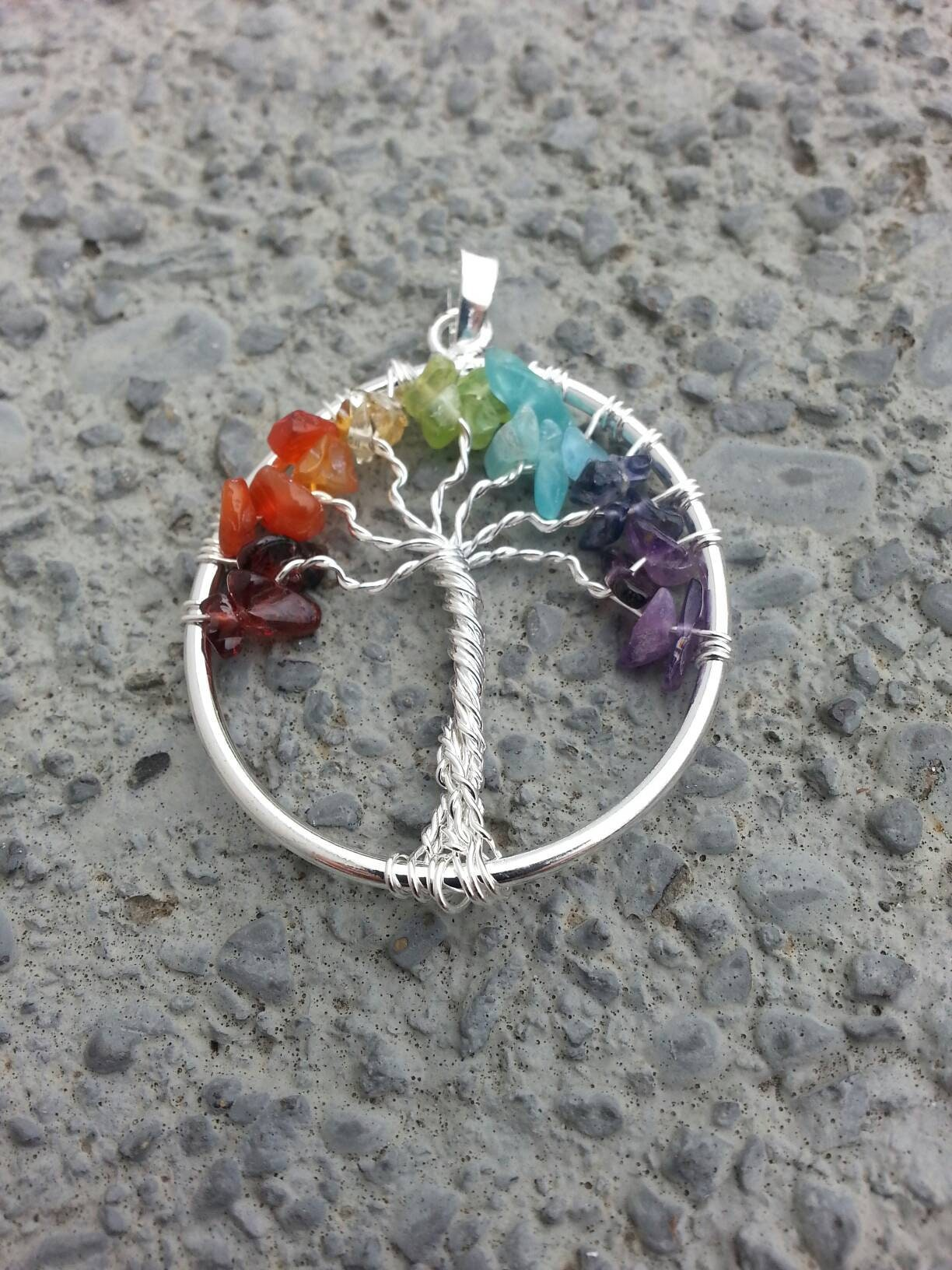Tree of Life Chakras Pendant Rainbow Tree of Life Necklace Crystals Crystal Necklace Wire Wrap Tree Chakra Necklace