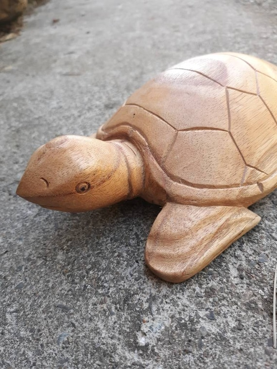 Hand Carved Wooden Turtle made from Balinese wood, Turtle Statue, Terrapin, Vintage, Home Decor, Animals, Wood Statue, Gift, Beach Decor