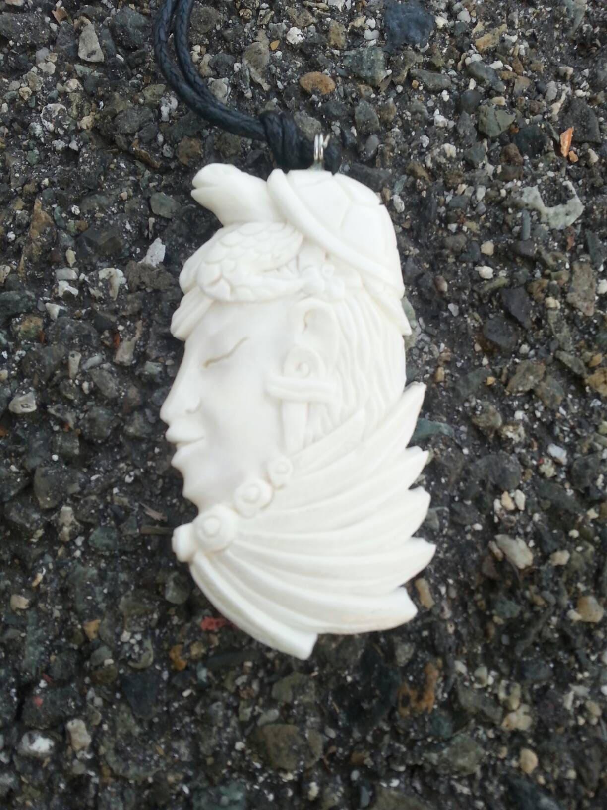 Bone Necklace Shaman Turtle Carved Bone Jewelry Feathers Pendant Handmade Vintage White Crystals Native Jewelry