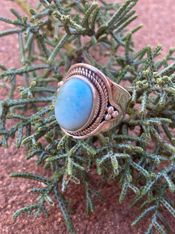 Larimar Crystal, Sterling Silver Ring Size 6, Blue Stone, Handmade Jewelry, Baby Blue, Gift, Fashion
