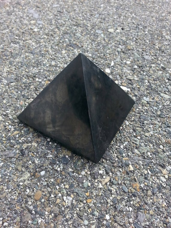 Large Shungite Pyramid/ Shungite/ Crystal/ Crystal Pyramid/ Black/ Unique Gift/ Electronics/ Home Decor/ Rocks/ Geodes