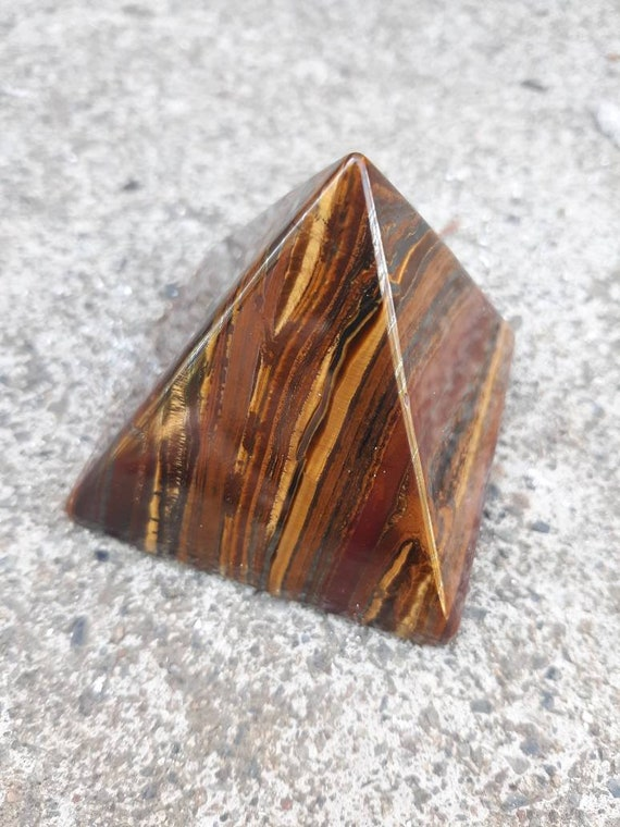 Tigers Eye/ Crystal Pyramid/ Brown Crystal/ Triangle/ Home Decor/ Gift/ Protection Crystal/ Stone/ Brown/ Polished/ Crystals