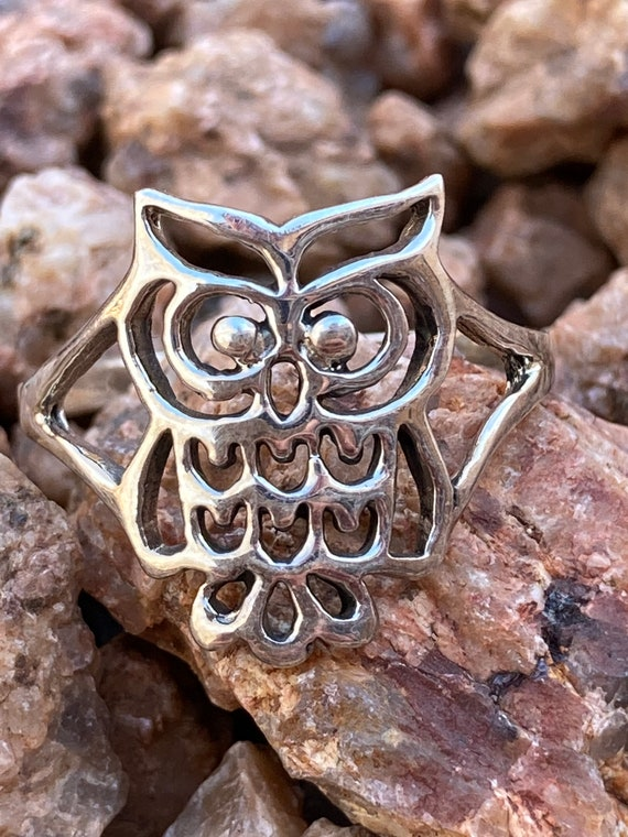 Owl Ring Sterling Silver 925 Size 8 Ring Spirit Animal Unisex Jewelry Animal Bird Ring Silver