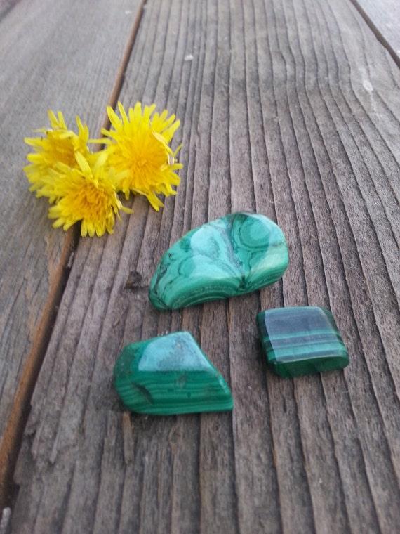 Malachite Polished/ Crystal Set/ Malachite/ Tumbled Stones/ Green/ Unique Gift