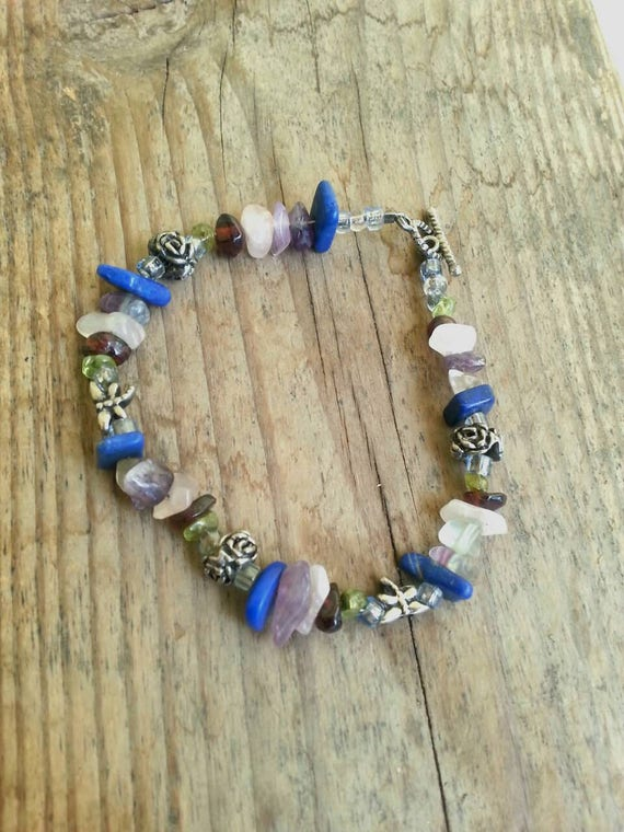 Bracelet/ Crystals/ Jewelry/ Crystal Chips/ Crystal Jewelry/ Amethyst/ Lapis Lazuli/ Rose Quartz/ Handmade/ Dragonfly