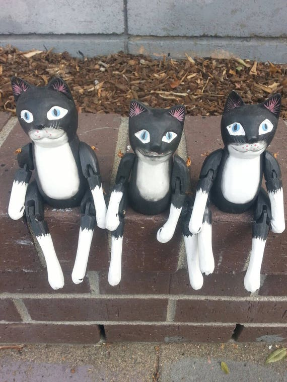 Cat* Wood Cat* Home Decor* Black Cat* Carved Wood* Animal* Crystals* Unique Gift* Kitten* Pets* Wood* Carving* Figurine* White