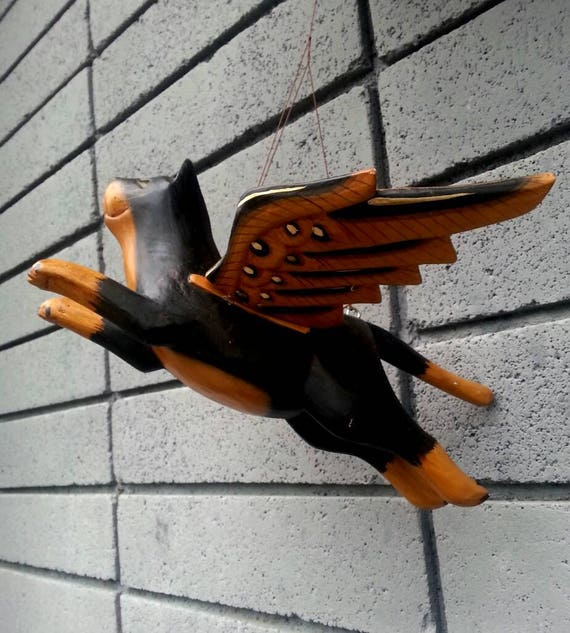 Wood Cat/ Flying Cat/ Home Decor/ Animal/ Gift/ Vintage/ Black Cat/ Wings/ Mobile/ Wall Hanging/ Wood/ Cats