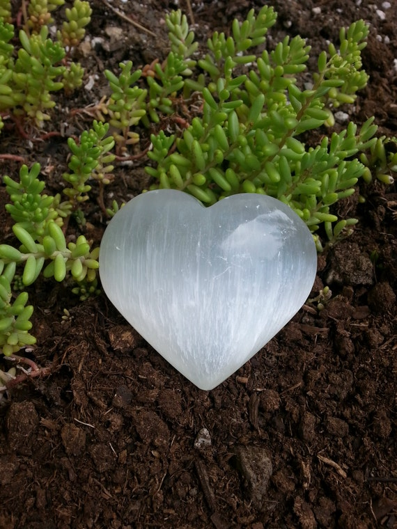 Selenite Heart* Selenite* Crystals* Selenite* White Crystal* Heart* Gift* Handmade* Polished* Crystal* Love* Stocking Stuffer