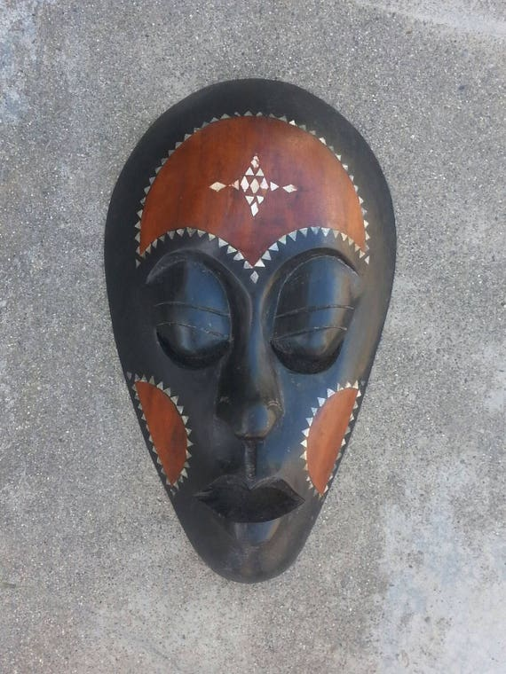 Indonesian Wood Mask/ Sea Shell Inlay