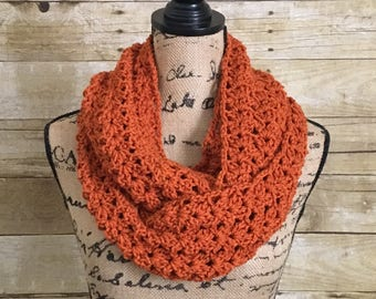Orange Infinity Scarf. Layering Scarf. Pumpkin Scarf. Winter Layering Accessories. Crocheted Infinity Scarf. Wrap Scarf. Gift for Her