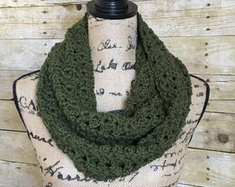 Olive Infinity Scarf. Layering Scarf. Dark Green Scarf. Winter Layering Accessories. Crocheted Infinity Scarf. Wrap Scarf. Gift for Her