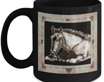 Cute Foal Mug For Horse Lovers, 11oz -Black