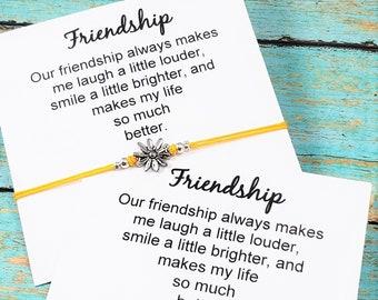 8debfa33767 Set of Two Matching Friendship Bracelets, Bff Bracelets, Best Friend Gift,  Friendship Card and Bracelet