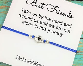 Best Friend Bracelet | Friendship Bracelet | Compass Bracelet | Gift for Best Friend | BFF Bracelet | Silver Compass Bracelet