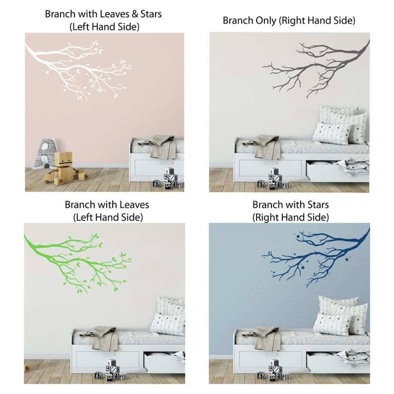Tree Branch Wall Sticker with Stars or Leaves Tree Branch Wall Decal Branch Nursery Wall Sticker Tree Wall Art Branch Wall Sticker
