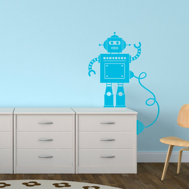 robot with wire wall sticker robot wall sticker vinyl   etsy