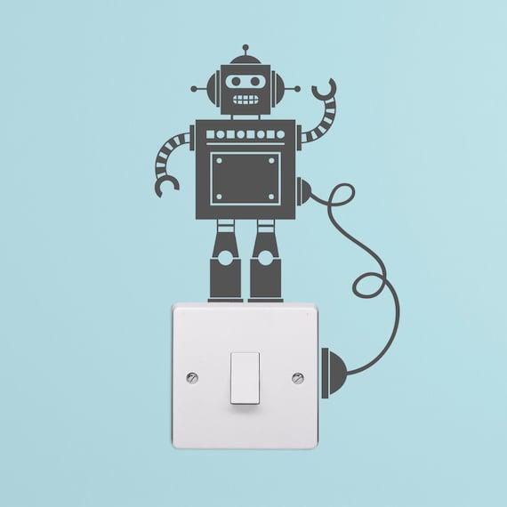 Kleine Roboter Lichtschalter mit Draht Aufkleber | Etsy