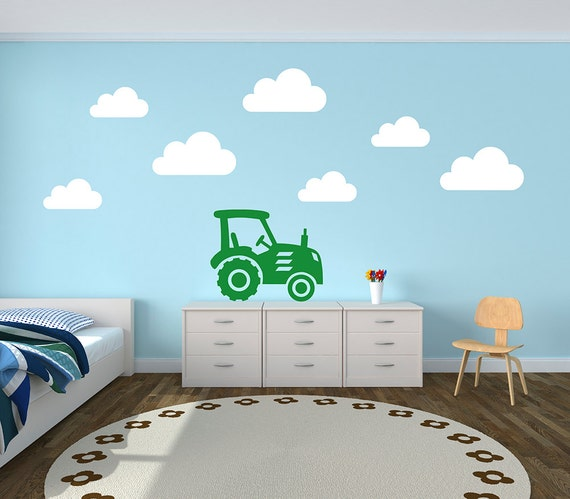 tractor and cloud farm yard decal vinyl wall stickers | etsy