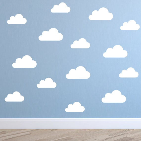 set of clouds wall decal nursery wall decal childs room | etsy