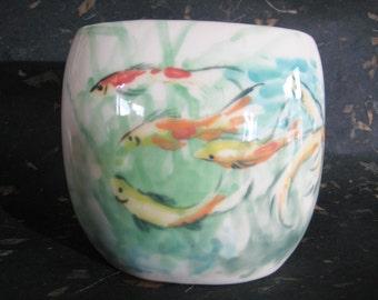 Porcelain Vase decorated with goldfish