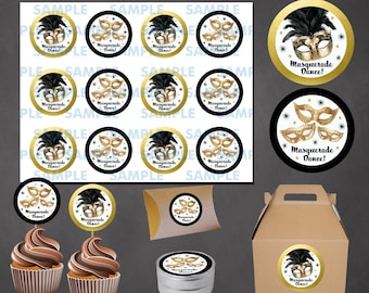 Masquerade Cupcake Toppers- Masquerade Stickers-Masquerade Party-Masquerade Favors-Masquerade labels-Masquerade tags-Carnival labels-DIY