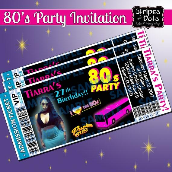 Ticket Invitations Party Bus Invitation 80 S Etsy