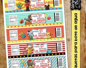 Blank Circus Water label- Birthday Girl-Circus Party-Carnival Party-Carnival Favors-Carnival Water Labels-Clowns-Blank labels-Water bottle