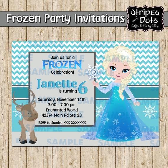 Elsa Party Einladung Einladung Eingefroren Frozen Party Etsy