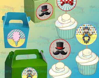 Printable Circus Cupcake Toppers- Circus Stickers-Circus Party-Circus Favors-Carnival Party-Carnival Favors-Carnival Cupcake toppers-Clowns