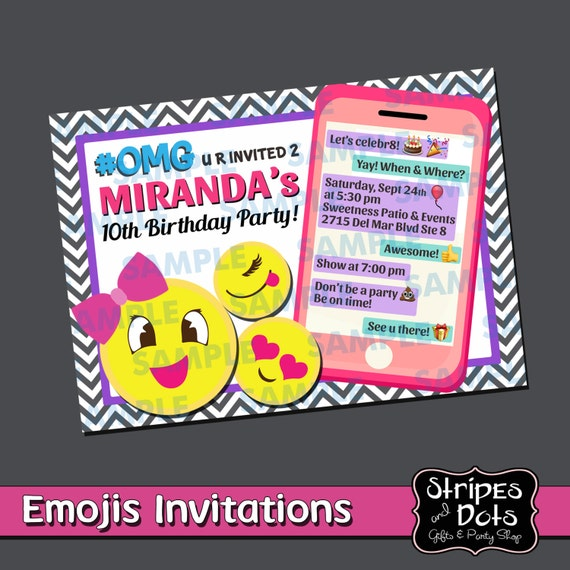 emojis party invitation emojis invitation emojis party print etsy